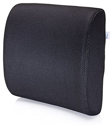 Premium Lumbar Support Pillow by MemorySoft - Memory Foam Lower Back Support Cushion for your Home, Office Chair, and Car - NEW Ergonomic Memory Foam Design with Cool Mesh Fabric (Black) - cheap UK light shop.