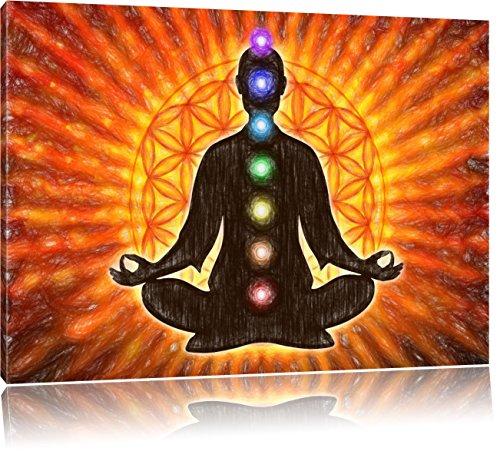 Meditation mit den 7 Chakren Kunst Buntstift Effekt, Format: 100x70 auf Leinwand, XXL riesige Bilder fertig gerahmt mit Keilrahmen, Kunstdruck auf...