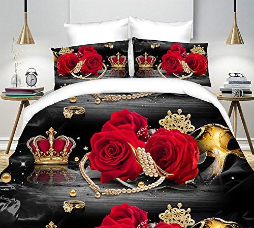 4St. Bettwäsche Set Red Crown 3D Prints Bettwäsche Set für doppelte Größe (Welt-bettwäsche-set)