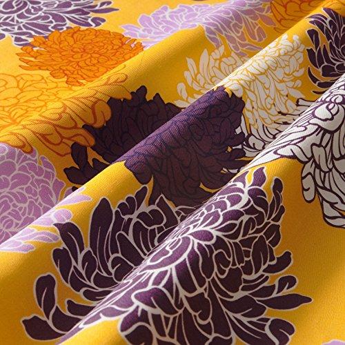 Lila Baumwoll-pyjamas (MIRABLAU DESIGN Stoffverkauf Baumwolle Twill elastisch große Blumen gelb und lila (1-153M), 0,5m)