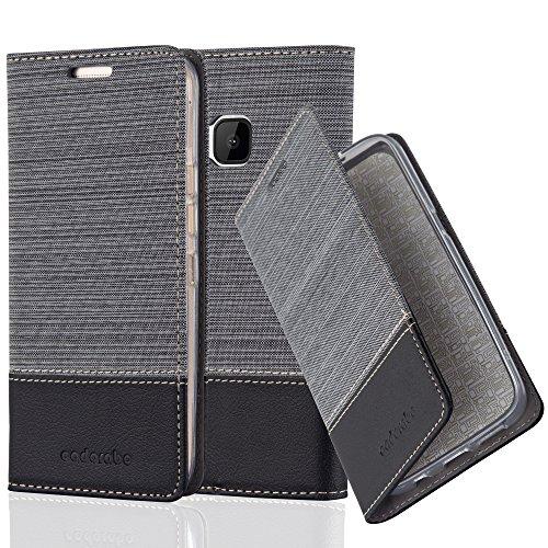 Cadorabo Hülle für HTC ONE M9 (3. Gen.) - Hülle in GRAU SCHWARZ – Handyhülle mit Standfunktion und Kartenfach im Stoff Design - Case Cover Schutzhülle Etui Tasche Book