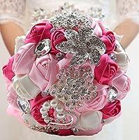winhappyhome Simulation Fleurs Artificielles Fait à la main mariée tenant un bouquet de roses de luxe avec strass et perles