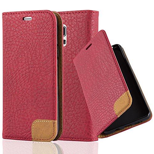 Cadorabo Hülle für Samsung Galaxy S5 Mini / S5 Mini DUOS - Hülle in Abend ROT – Handyhülle mit Standfunktion, Kartenfach und Textil-Patch - Case Cover Schutzhülle Etui Tasche Book Klapp Style