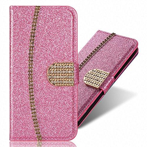 IKALITE 3D Bling Glitter Glitzer Diamond Musterg Ledertasche Bookstyle Standfunktion Karteneinschub Magnetverschluss Flip Leder Wallet Tasche Brieftasche Schutzhülle für iPhone 8 Plus/iPhone 7 Plus