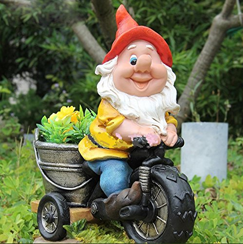 Nano da giardino su bicicletta