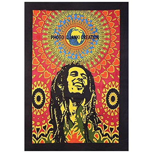Lachen Bob Marley, Indian Bohemian Mandala, indischen Mandala Bohemian Baumwolle Hippie bobmarle Poster Wandbehang Tapisserie Poster Größe 30 x 40