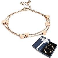 Crazy-m Rosegold Herzen Damen Armband Layered Armband mit Herz Anhängern Doppelt Kette Armband für Frauen Armkette…