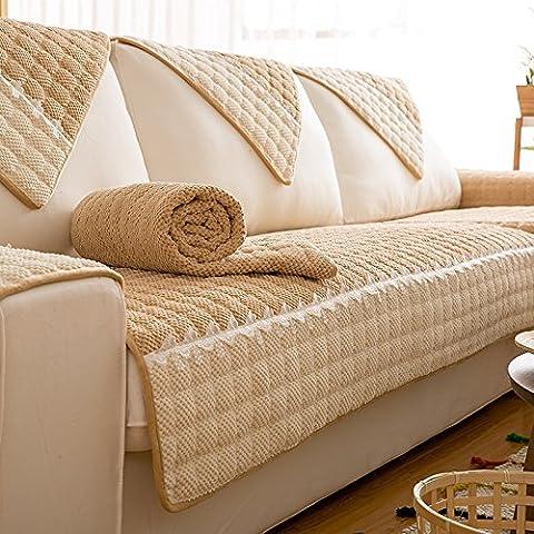 Yifom Protector de mobiliario lujoso sofá acolchado de invierno salón cojín de tela de color sólido sofá,Camel,70*70
