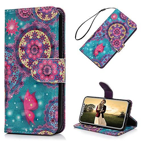 MAXFE.CO Schutzhülle Tasche Case für iPhone X PU Leder Flip Tasche Cover 3D Design im Ständer Book Case / Kartenfach Baum + Kaninchen Totem 2