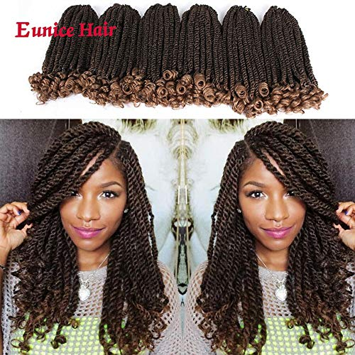 12 Zoll Eunice Curly Havana Mambo Twist 6 PACKS Ombre Braun Short Synthetik-Haarverlängerungen Braids Bulk Hair Twist Crochet-Zöpfe Braiding Hair (T1B/27)