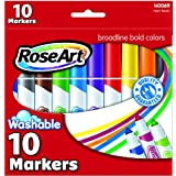 RoseArt Washable Bold Broadline Markers, 10-Count, Assorted Colors, Packaging May Vary (CYB67)