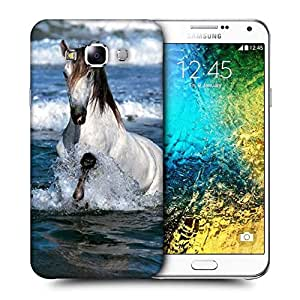 Snoogg White Horse In River Printed Protective Phone Back Case Cover ForSamsung Galaxy E7