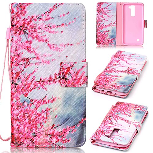 SmartLegend LG K8 Case , LG K8 Cover Strap Leather Wallet Case Colorful Arting Painting Pattern Design PU Bumper with Magnet Closure and Card Slots Holster Stand Function Smartphone Protective Case -Sakura
