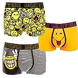 Smiley World 3er Pack lustige Unterhose Boxershort Pant Underwear Geschenk Herren Jungen modisch witzig frech 95% Baumwolle (S)