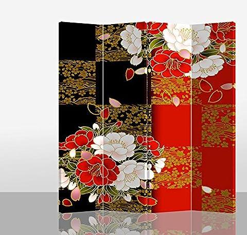 Fine Asianliving séparateur de pièce Paravent pliable écran Pivoine de style japonais Rouge Noir 4panneaux (180x 160cm) meubles Home Decor Imprimé sur toile écrans recto verso bilatéral Oriental asiatique chinois Style japonais (sur toile)