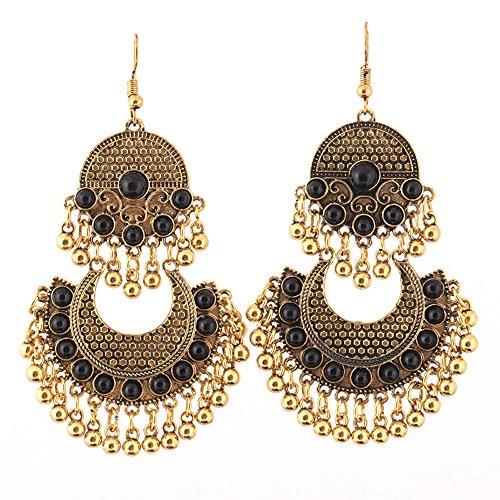 MOTOCO Retro-Ethno-Stil mit diamantbesetzten Türkis-Ohrringen mit Quastenohrring(F)