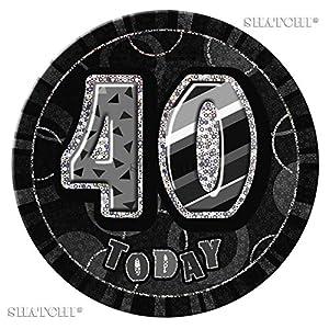 "Gifts 4 All Occasions Limited SHATCHI-554 - Insignia para 40 cumpleaños, diseño con texto en inglés""40th Insignia Glitz"", color negro"