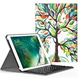 MoKo Funda para New iPad 9.7 pulgada 2017 - Wireless Bluetooth Keyboard Case con PU Cuero Teclado Inalánbrico QWERTY Layout Para Apple All-New iPad 9.7 Pulgadas 2017 Tableta, Álbo de la Suerte
