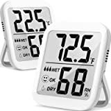 Humidity Meter, 2 Pack Indoor Thermometer Hygrometer Humidity Gauge Temperature and Humidity Monitor with Accurate Dual…