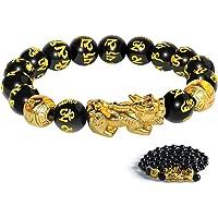 Katomi - Braccialetto cinese con perline Feng Shui, colore nero, con Pi Xiu, in ossidiana, con amuleto intagliato a mano…