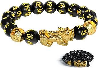 Katomi - Braccialetto cinese con perline Feng Shui, colore nero, con Pi Xiu, in ossidiana, con amuleto intagliato a mano, per fortuna e ricchezza