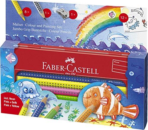 Faber-Castell 110908 – Estuche escolar mundo acuático con 8 ecolápices Jumbo Grip, ecolápiz de grafito, afilalápices y 12 adhesivos, multicolor