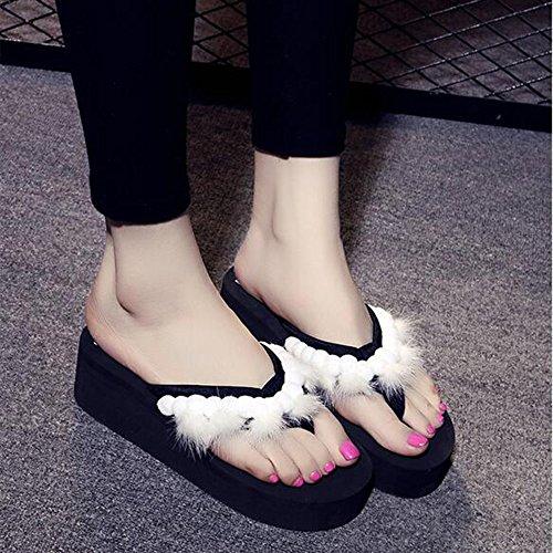 Estate Sandali 5.5CM Pantofole femminili della sabbia di estate Sandali inferiori inferiali femminili antisdrucciolevoli Pattini di svago di vacanza (bianco / nero / verde / colore rosa) Colore / form Nero