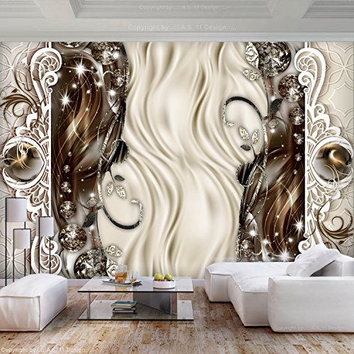 murando - Fototapete Abstrakt 300x210 cm - Vlies Tapete - Moderne Wanddeko - Design Tapete - Wandtapete - Wand Dekoration - Diamant Ornament braun beige a-C-0095-a-b