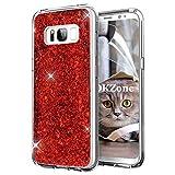 OKZone Galaxy S8 Hülle, Luxus Glitzer Bling Designer Weich TPU Bumper Case Silikon Schutzhülle Handy Tasche Rückseite Hülle Etui Cover TPU Bumper Schale für Samsung Galaxy S8 (Rot)