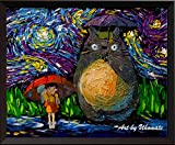 uhomate My Neighbor Totoro in Regen Hayao Miyazaki Wand Decor Vincent van Gogh Starry Night Poster Home auf Leinwand, Jahrestag Geschenke Baby Kinderzimmer Decor Wohnzimmer Wanddekoration A045, 11x14 inch