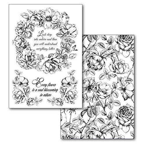 Stamperia Transfer-Papier Blumen und Weisheiten 2 Stück schwarz weiß Blumen DIY Transfer-Medium Papier