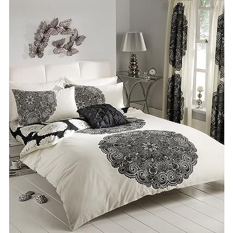 Mahattan crema y negro de funda de edredón juego de funda de edredón con cubiertos de cortinas y sábana bajera para cama - doble