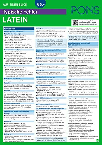 PONS Typische Fehler auf einen Blick Latein - So vermeiden Sie die häufigsten sprachlichen Fehler! (PONS Auf einen Blick, Band 50)