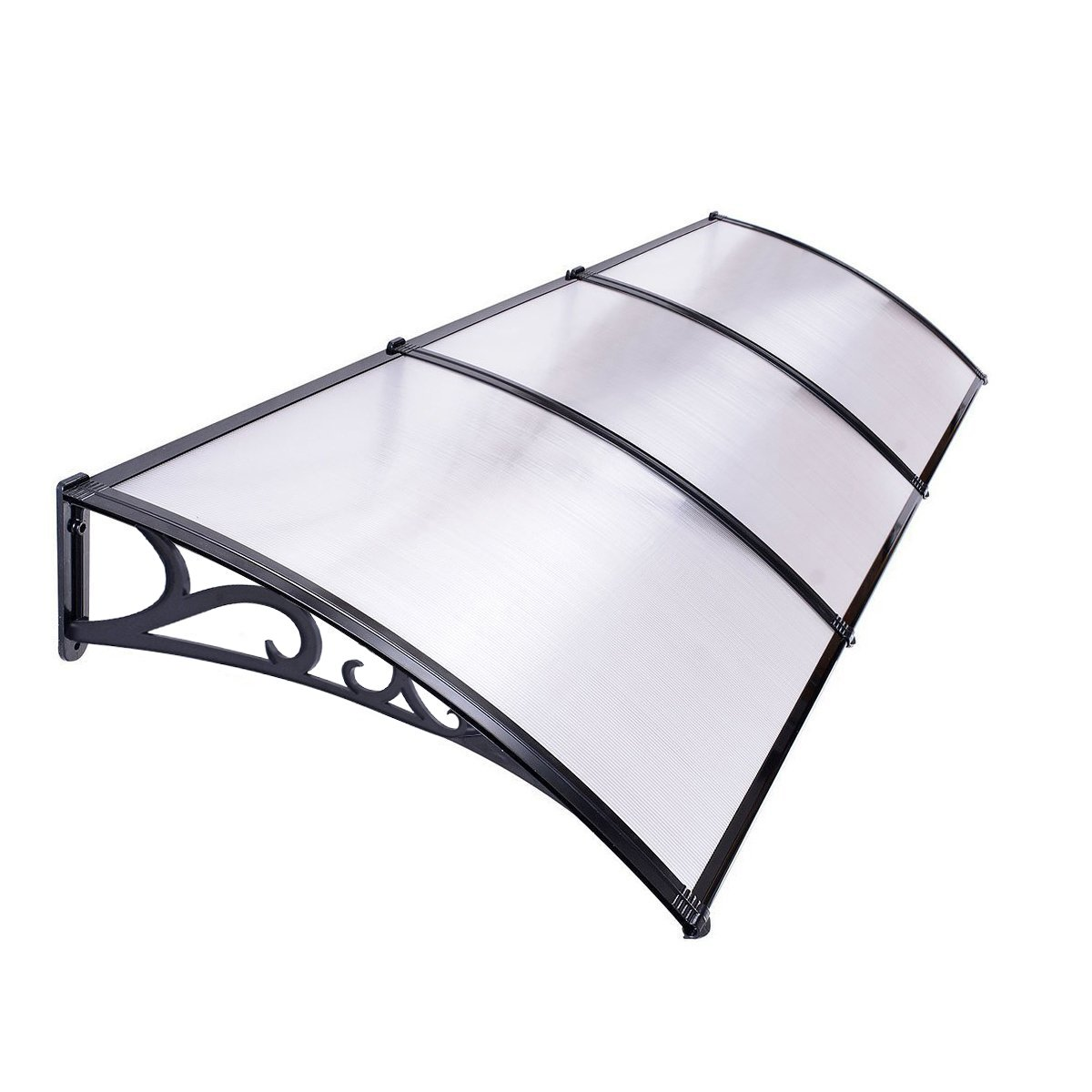 BLACK//WHITE DOOR CANOPY OPAQUE CORRUGATED AWNING SHELTER ROOF FRONT BACK OUTDOOR