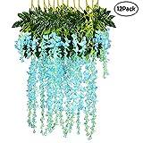 123,6Füße Künstliche Fake Wisteria Vine Ratta Aufhängen Silk Blumen für Hochzeit Home Garden Party Dekoration blau