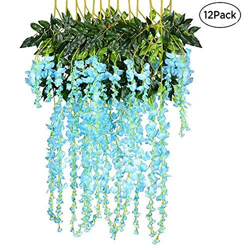 stliche Fake Wisteria Vine Ratta Aufhängen Silk Blumen für Hochzeit Home Garden Party Dekoration blau ()
