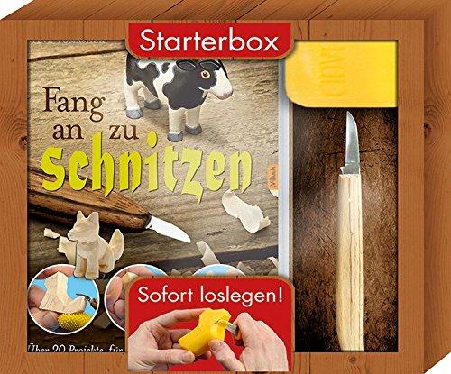 Fang an zu schnitzen - Starterbox: Über 20 Projekte für Anfänger und Fortgeschrittene. Box mit Buch, Schnitzmesser und Seifenblock.