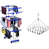 HOUSEWARE™ Stainless Steel Heavy Duty Double Pole 3 Layer Cloth Drying Stand for Balcony (Blue Drying Stand + Hanger)