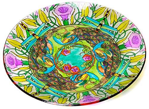 Runde Glas-Vogeltränke, Akzentschale - Garten Art Dekorative Tablett Tafelaufsatz - 45,7 cm große Vogelfutterstation mit Blumenmuster
