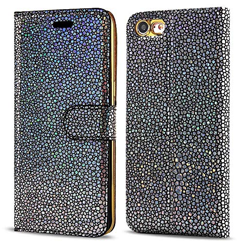 LCHULLE iPhone 6/6S Plus Hülle, Pearl Spots Bling Glitter Slim PU Leder Flip Case Silikon Rückseitige Abdeckung mit Stand Brieftasche Magnetic Closure Book Cover (Schwarz) Pearl Flip Case
