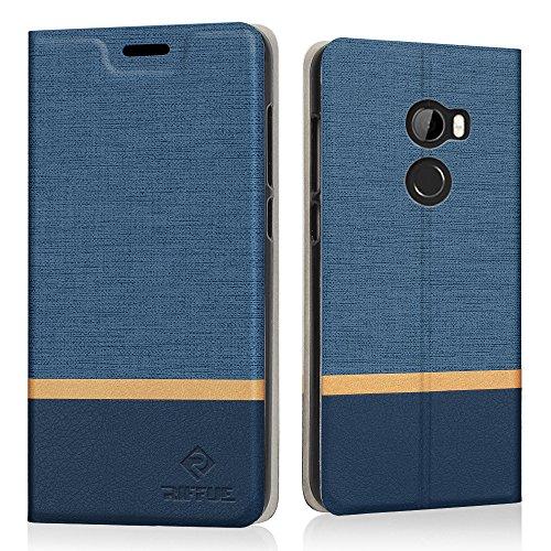 HTC One X10 Hülle, Riffue Dünnes Retro Denim Muster PU Leder Schutz Folio Schützende Abdeckung für HTC One X10 - Blau