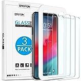 OMOTON [3-pack] kompatibel för iPhone 11 Pro Max/iPhone XS Max skärmskydd, härdat glas med ram [lätt att installera verktyg]