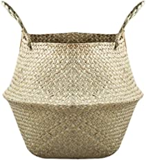 Vosarea Natural Woven Seagrass Basket with Handles for Storage Laundry Picnic Plant Pot Cover Size S