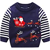 YSSGTT Suéter de manga larga para niños con diseño de Papá Noel de Alce