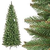 FairyTrees künstlicher Weihnachtsbaum Slim, Fichte Natur, grüner Stamm, Material PVC, inkl. Metallständer, 180cm, FT12-180