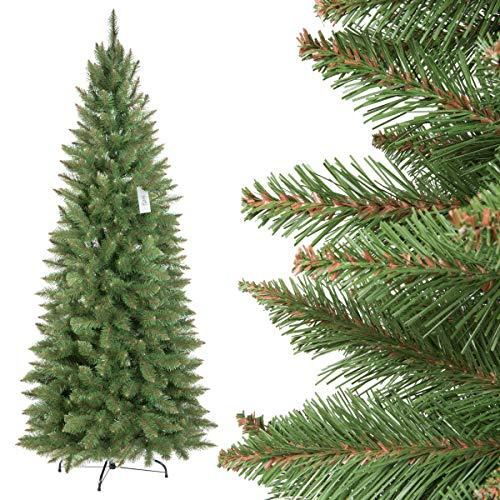 Fairytrees artificiale albero di natale slim, abete rosso naturale, tronco verde, materiale pvc, incl. supporto in metallo, 180cm, ft12-180