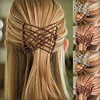Amatt EZ Stretch Pearls Combs For Women/Ladies, Magic Beading Hair Comb-Double Clips Hair Styling Accessories for Women&Girls Hair Beauty (Coffee)