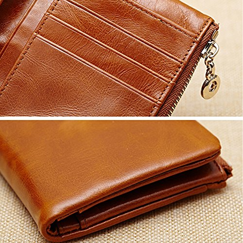 Artemis'Iris Compact Cera Vera Pelle raccoglitore della tasca di lusso della frizione carte denaro cambiamento dell'organizzatore del supporto della borsa del corto, rosso red