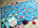 Snapstyle Kinder Spiel Teppich Schmetterling Türkis in 24 Größen