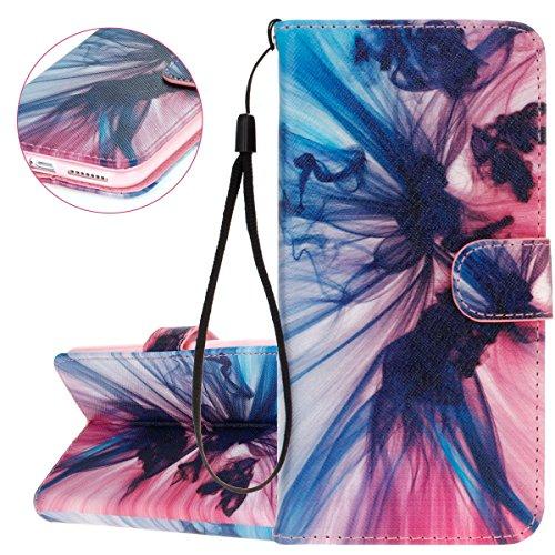 ISAKEN Custodia iPhone 6 Plus, Cover iPhone 6S Plus, Elegante borsa Custodia in Pelle Protettiva Flip Portafoglio Case Cover per Apple iPhone 6 Plus (6 5.5) / con Supporto di Stand / Carte Slot / Chi blu+rosa